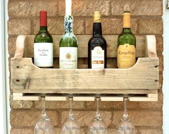 Rustic Wooden Wine Rack - Natural