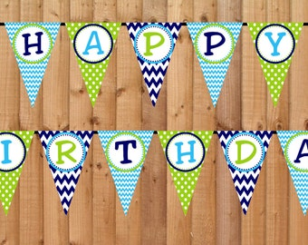 Summer Boy Happy Birthday Banner- INSTANT DOWNLOAD - Printable Party Decorations, Pool Beach Party