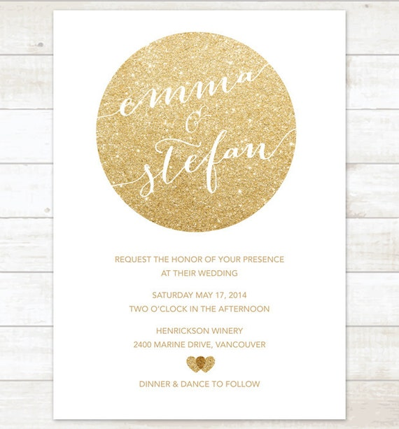 weiß & gold hochzeit einladung gold glitter herzen einladung, Einladung