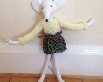 Miranda Mouse. Handmade fabric stuffed mouse with individual handmade clothes.