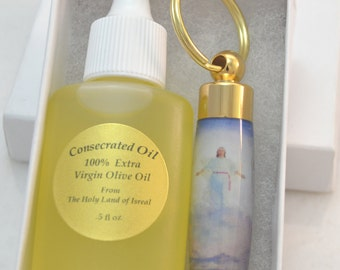 LDS Consecrated Oil Vial with Christ in Glory Key Chain