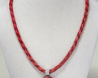 Kumihimo Braid with Dichroic Glass Pendant, Kumihimo Necklace with Glass Pendant