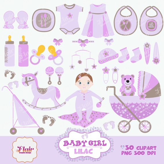 baby girl digital clipart lila babyparty babywiege