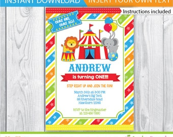 circus invitation / printable circus invitation / carnival circus invitations / 1st birthday circus invitation / INSTANT DOWNLOAD