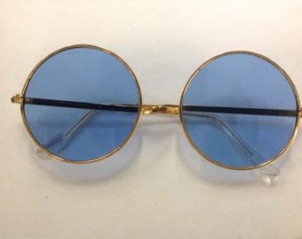 True Vintage Hippie Sunglasses Gold Metal Frame Blue Glass Lenses Japan NOS Lennon 7850