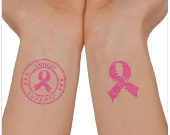Breast Cancer Awareness Temporary Tattoo 2 Wrist Tattoos Waterproof Thin Durable