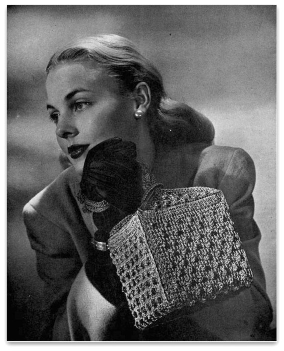 Retro Handbags, Purses, Wallets, Bags Pattern For Crochet Handbag Vintage 1940s Crochet Pattern - Loveletter Bag - PDF Download $2.54 AT vintagedancer.com