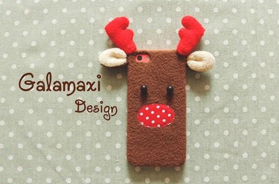 Handmade Christmas Reindeer iPhone 6/6S Case, Fluffy Phone Cover, Reindeer Case for Samsung S6 Edge, Custom Phone Case, Christmas Gift Idea
