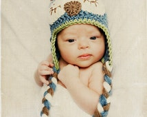 Baby Crochet Owl Hat, Photo Prop, Baby Hat with braids
