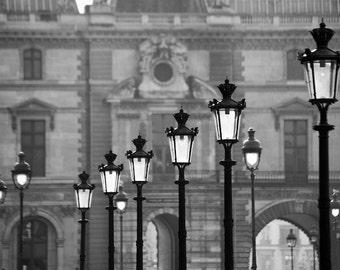 Paris black and white photography, Paris lamp posts, Paris photography, black and white photo, Louvre, Paris decor, fine art print