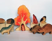 Waldorf toy WOODLAND ANIMAL SET, Set of 8 wooden woodland animals and Autumn Tree / Handmade Wooden Toy Waldorf Inspired
