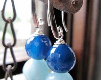 Blue Agate and Amazonite Earrings on Sterling Silver