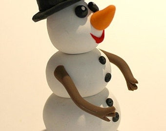 Polymer Clay Snowman Figurine, good for Decoration, Personalised Gift, Cake Topping, Cake Decoration, Cake Topper