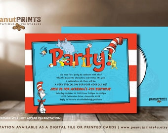 Dr. Seuss Birthday Party Invitation - Printed OR Digital File - by peanutPRINTS