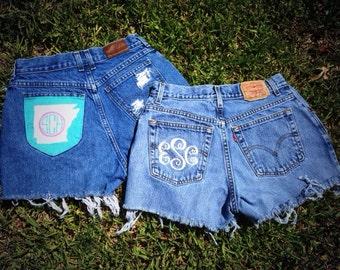 Custom Monogrammed High Waisted Shorts