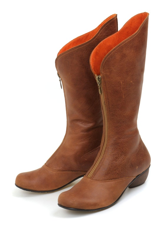 Women Leather Boots / Cowboy Boots / Casual Leather Shoes / Lined Wood Heels Boots / Zipper Closure Boots / Sexy Country Chic Boots - Tommy