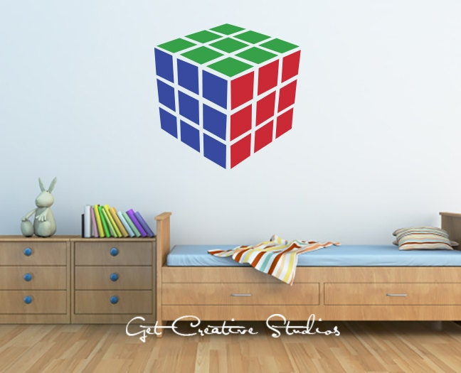 Cube decal rubik wall decal game room decor puzzle boys - Cube wall decor ...