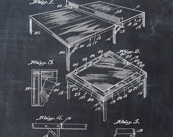 Patent Print of a Ping Pong Table Patent Art Print Patent Poster