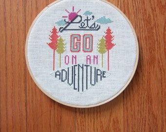 Adventure - modern cross stitch pattern - typography inspired - PDF format - instantly downloadable