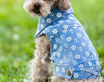 Premade Dog Light Denim Jacket with Marine Prints