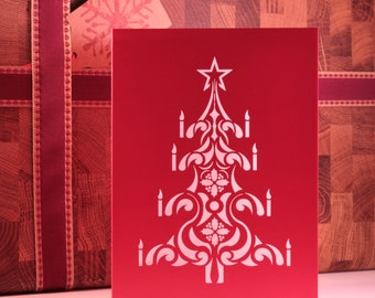 Red Laser Cut Christmas Tree Card