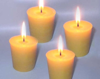 Lot of 4 natural pure beeswax votive candles
