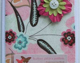 In Every Girl Is A Goddess fabric card