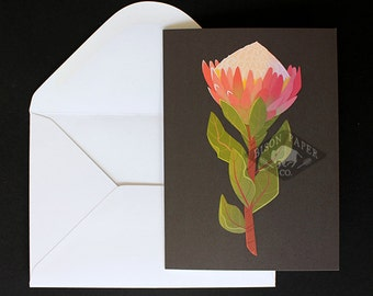Modern & Simple Blank Illustrated King Protea Flower Card