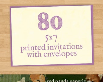 80 Printed 5x7 Invitations on Cardstock with Matching Envelopes