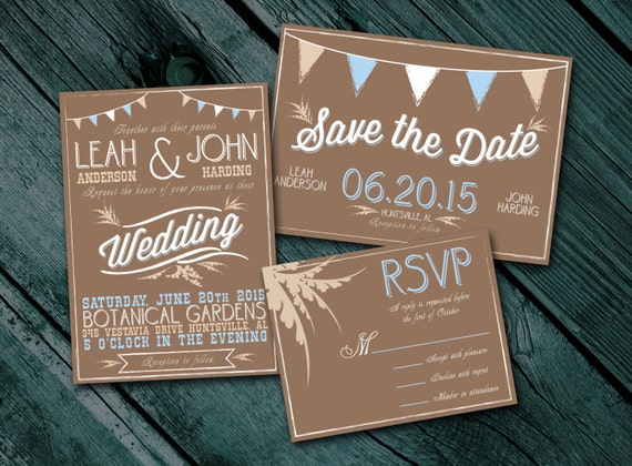 Cheap Rustic Wedding Invitations: Rustic Wedding Invitation Package Digital By ThePrintingGent