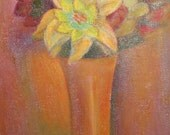 Vintage oil painting still life with flowers signed