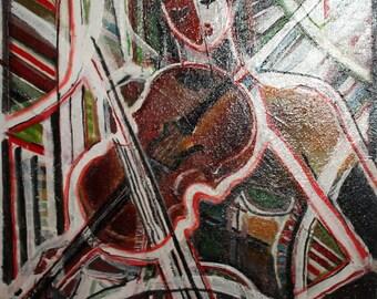 European 1980's cubist oil painting