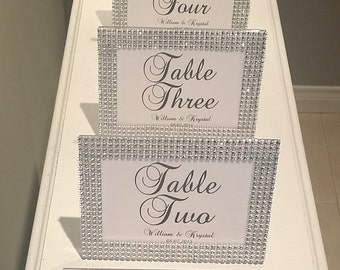 set of 5 bling frame collection rhinestone wedding frames with table numbers personalized with bride and grooms names wedding date