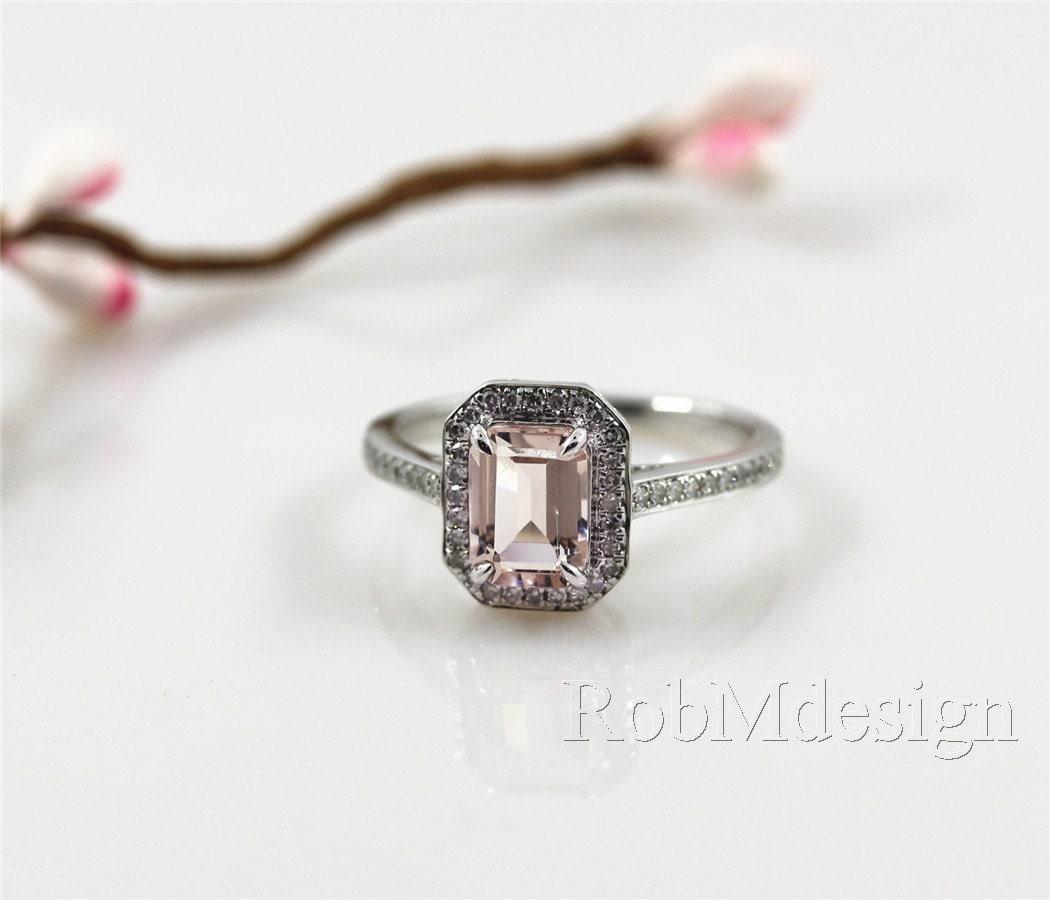 emerald cut 68mm fancy morganite ring halo by