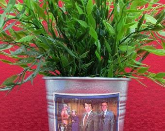 "DALLAS TV series, 1981 Donruss original vintage trading card, galvanized metal 4"" silver planter pot, Ewing Southfork, Who shot JR"