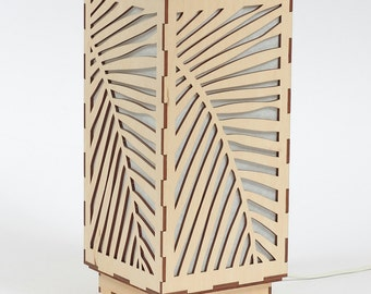 Wooden lamp / Decorative lamp / Laser cut wood lamp / Table lamp - Palm