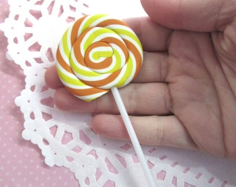 Huge Lollipop Candy Clay Cabochons - Decoden Sweets, Yellow and Orange