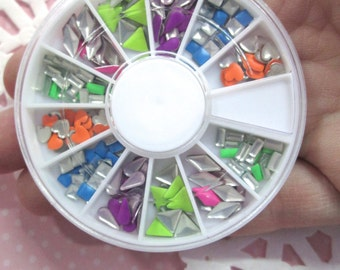 Assorted Shape Neon Aluminum  Cabochons, Multicolor Nail Art Wheel, Over 175 pieces