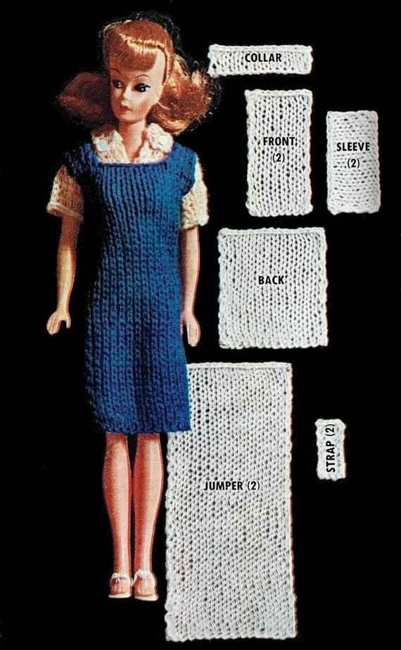 Knitting Pattern Barbie Jumper : Barbie Size Knitting Patterns Jumper Dress Blouse Doll Size