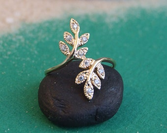 Small Wrap CZ Leaves Branches Ring, 14K Gold Plated Ring