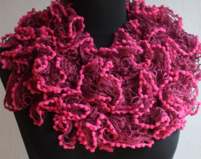 Ruffle scarf, Frilly scarf, Knitted scarf, Red scarf, Fashion scarf, Mother's Day gift, Spring Accesories, Clearance sale!!! Womens scarf