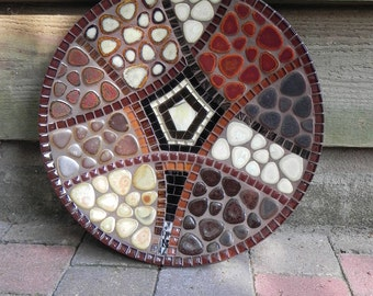 Mosaic Art - Brown Oriental Mosaic Dish, Platter,  Mosaic Bowl, Medium Size, Wall or Table Decoration,