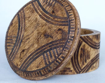 Round Wooden Box Handmade For Jewelry Geometric Lines Vintage Look