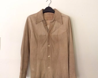 Vintage Women's Tan Suede Button Down Top, Size Small