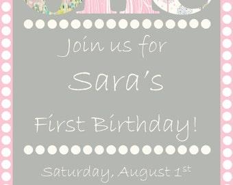 Pastel First Birthday Invitation
