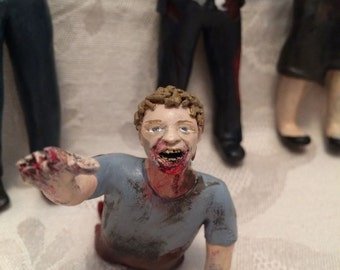 2 Custom Made Zombie Cake Topper Figurines, Wedding Cake Topper, Polymer Clay Cake Topper, Inspired by The Walking Dead, Zombie