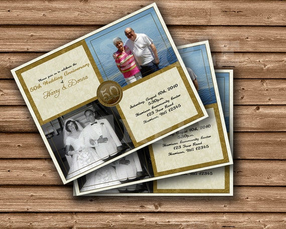 50th Wedding Anniversary Gifts Diy : 50th Wedding Anniversary Invitation - DIY Golden Anniversary - 50th ...