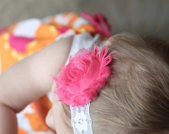 Hot pink shabby chic flower headband with white lace