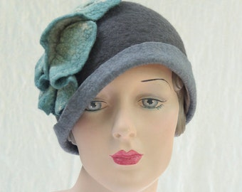 Pewter Gray Cloche - Hand Felted Merino Wool - Leaf - Flower - Hat - Cloche Hat - Pewter - Grey