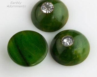 Vintage marbled green and yellow Bakelite style cabochons with rhinestone.  9mm.  Package of 4. b5-928(e)